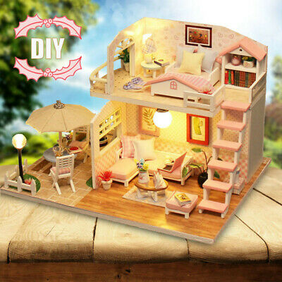 Dollhouse Miniature DIY Kit With Cover Wood Toy Doll House Cottage W/LED Gift US