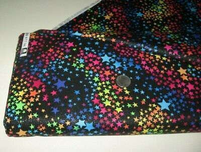 Fabric Traditions quilt/craft fabric RAINBOW BRITE black 2 yds w-Silver glitter