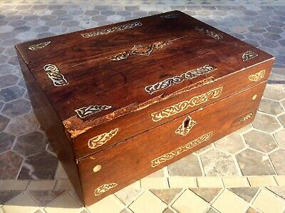 Antique Victorian Large Jewellery Box,Rosewood Trinket Case,Mother Pearl Inserts