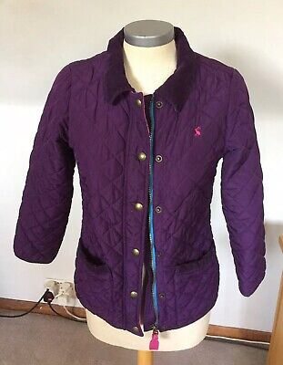 Joules Girls Purple And Pink Quilted Jacket Coat Age 9-10 Years