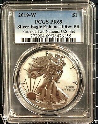 2019 W 1 oz Reverse Proof Silver Eagle PCGS PF 69 From Pride of Two Nations Set