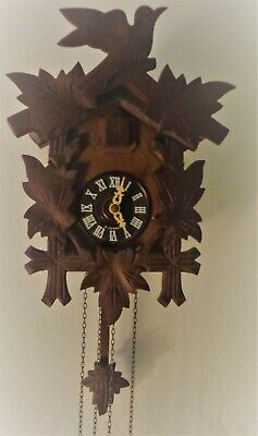 Vintage West Germany Black Forest Small Cuckoo Clock Parts or Repair - Blue Bird