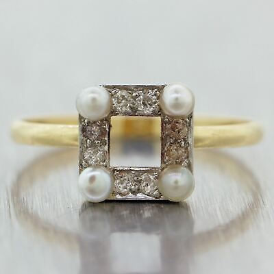 1920's Antique Art Deco Platinum 14k Yellow Gold Diamond & Pearl Square Box Ring