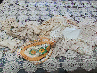 16Pc BOX LOT* VTG 1930s-40s Hnd-Made DOILIES & CROCHET LACE TABLECLOTH Craft Lot