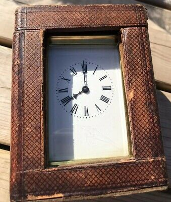 Vintage BRASS CARRIAGE CLOCK With Case & Key Military Connection Boar War