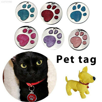 3615 Alloy Cat ID Tag Glitter Engraved Personalised Pet Paw Print Tags