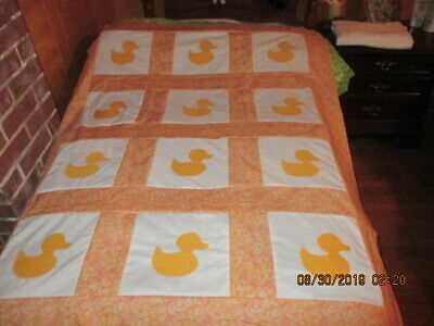Cute Ducky Appliqued  Quilt Top New  8/2019