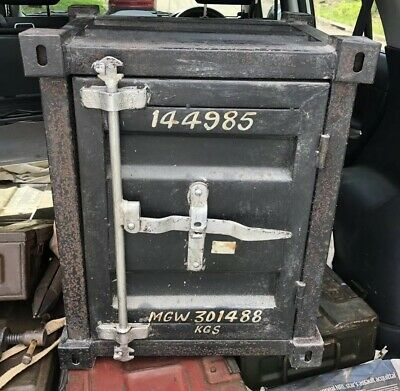 Vintage Mini Shipping Container Tool Letter Box Steel Old Industrial Art Safe