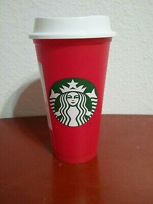 New Red White Starbucks Reusable Travel Cup To Go Coffee Grande 16 Oz