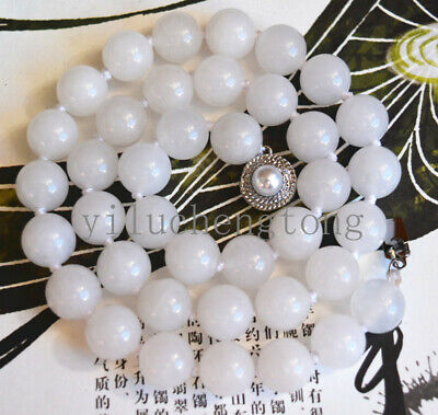 """New 10mm Nature white jade Gemstone Beads Necklace 18"""" pearl Clasp"""
