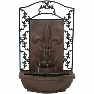 Sunnydaze French Lily Electric Outdoor Wall Water Fountain - Iron Finish