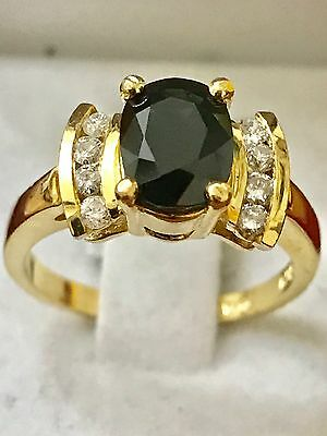 14k Solid yellow gold Natural Diamond & dark Sapphire ring 1.93 ct size 6.5
