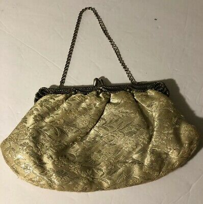 Vintage Women's Small Purse Tapestry  w/ Chain, Very Ornate Trim