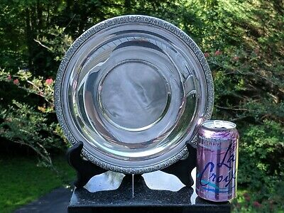 """Silverplate 10.25"""" Plate/Serving Platter/Tray w/Floral Trim (Reed & Barton 1404)"""