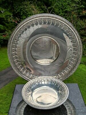 """Reed & Barton 1202 Silverplate 10"""" Serving Tray + Matching 6"""" Bowl w/Floral Trim"""