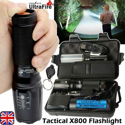 350000LM Ultrafire X800 T6 LED tactical Flashlight Zoomable Torch Headlamp Camp