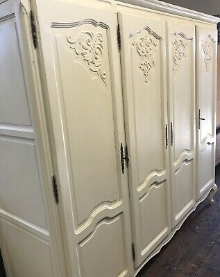 4 Door French Louis Style Painted White Wardrobe Good Condition