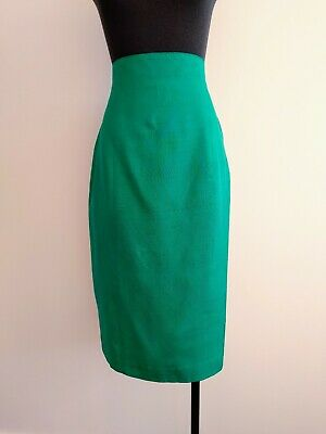 Vintage Events Green pure Silk Pencil Skirt High Waisted AU 8 S