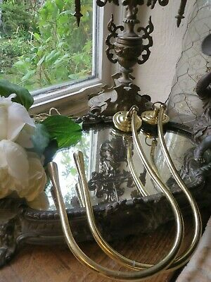 Sweeping Pair Of Vintage French Solid Brass  Curtain / Drape Tie Back Hooks