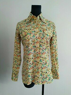 Vintage Retro Wraggs By Playtogs Womens Yellow Floral Shirt Cotton blouse S AU 8