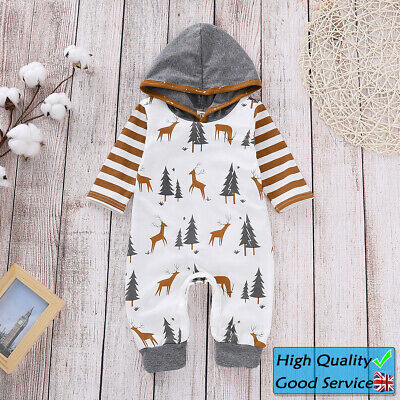 Baby Boys Girls Long Sleeve Hoodies Romper Toddler Jumpsuits Christmas Outfits