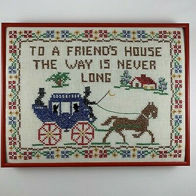 Vintage Counted Cross Stitch Horse Carriage Framed Friends House