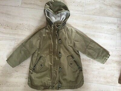Girls Next Coat Jacket Age 5 Khaki Green & Bobble Hat Age 5-6