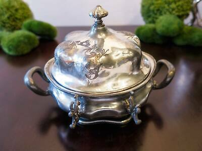 Antique Silver Plate Covered Butter Dish Cheese Dome Forbes Silver Co Quadruple
