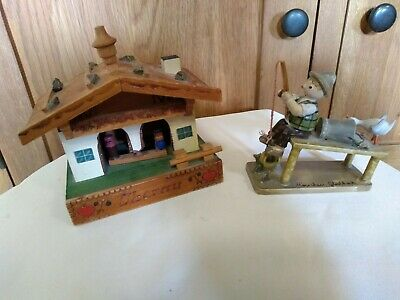 Vintage Austrian Alps or German Black Forest wooden house, & Fisherman Ornaments