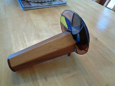 Kaleidoscope Signed 95 Handmade In Usa Vintage Stained Glass & Wood