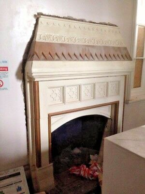 Antique Victorian Hand Carved Stone Fire Surround Mantelpiece Fireplace 1890'S