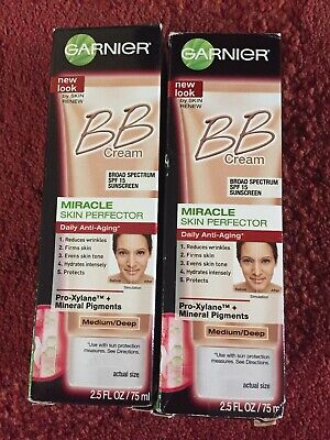 2x Garnier BB Cream,Anti-aging,Miracle Skin Perfector,Medium,75ml,UV SPF15,New