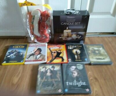 mixed lot collection.candle set,dvds,cuddly toy with book,jelly watch