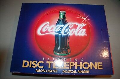 Coca-Cola Blinking  Disc Phone 1995 New- Original Box-Neon Lights Musical Ringer