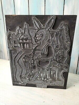 woodblock ink print plate bunny rabbit coloring book color book 8x10 antique