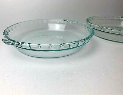 """2 Vintage Pyrex clear glass fluted crimped 9.5"""" deep dish pie pan plate dish 229"""
