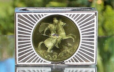 RARE  Emile Langlois SILVER & ENAMEL ST GEORGE AND THE DRAGON MATCH BOX HOLDER