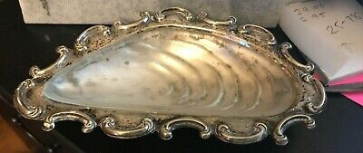 Vintage Silver Plate EPNS Oyster Shell Dish  glass liner