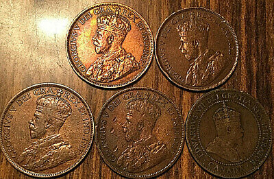 1905 1916 1917 1918 1918 Canada Large Cents Lot Of 5 Coins
