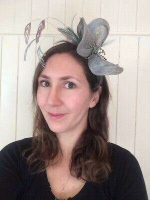 Feathered and beaded Fascinator Headband for wedding mother of the bride/ races
