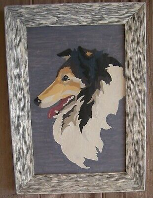 2 Vintage 60's Paint By Number Paintings Collie and Sheltie FRAMED Mid-Century