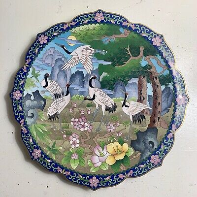 Beautiful Antique Japanese Cloisonne Charger Dish Plate Enamel Cranes Herons 12""