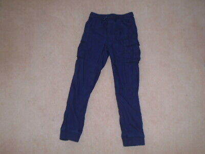 GAP KIDS - NAVY BLUE - JERSEY LINED CARGO JOGGERS - Size: L   10 - 11 years