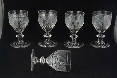 Group Of Five Early Antique Cut Glass Wine Goblets