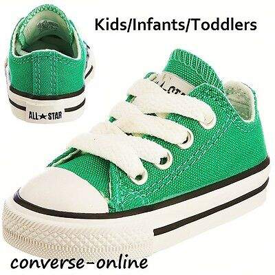 KIDS Toddlers Boys Girls CONVERSE All Star Green Low Trainers Shoes SIZE UK 4