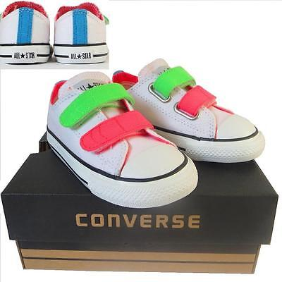 Infants Boys Girls CONVERSE All Star WHITE NEON 2 STRAP Trainers Shoes UK SIZE 8