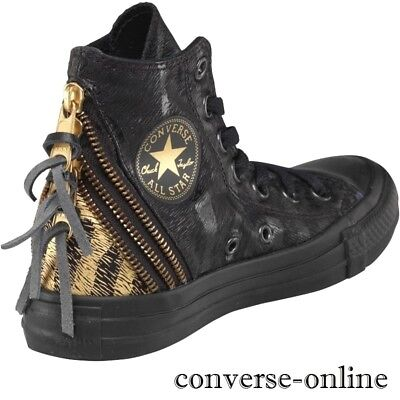 Women's CONVERSE All Star Black TRIPLE ZIP HIGH TOP Trainers Boots SIZE UK 3.5