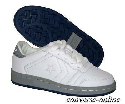KIDS Boys Girls CONVERSE All Star WHITE GREY LEATHER Trainers Shoes SIZE UK 12.5