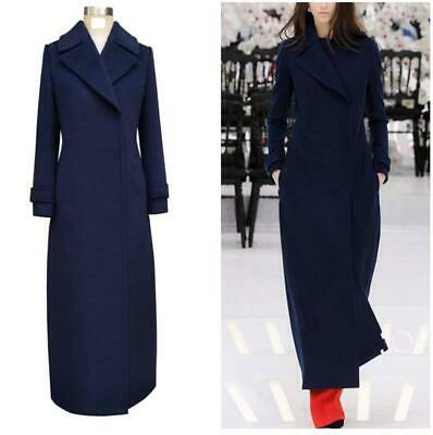 Runway Womens Wool Full Length Overcoat Party Coat Winter Occident Trench Jacket