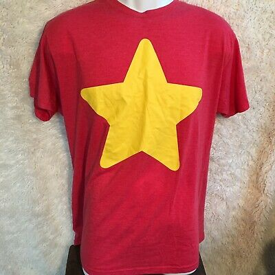 Steven's Universe Star Shirt Adult Unisex T Shirt Size L Red Yellow